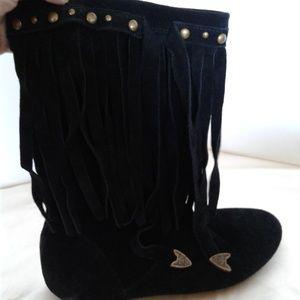 Aldo fringe suede boots round toe